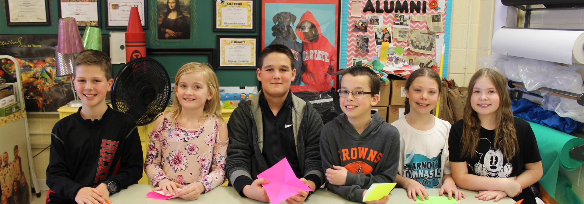 Hinckley 5th Graders Learning Origami