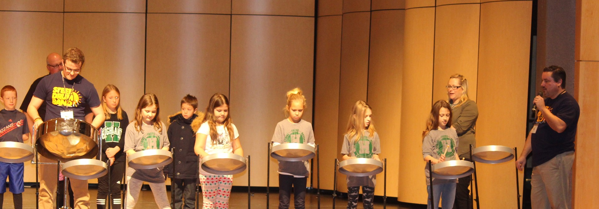 Granger 3rd Graders Work with Members of Akron Steel Drum Band