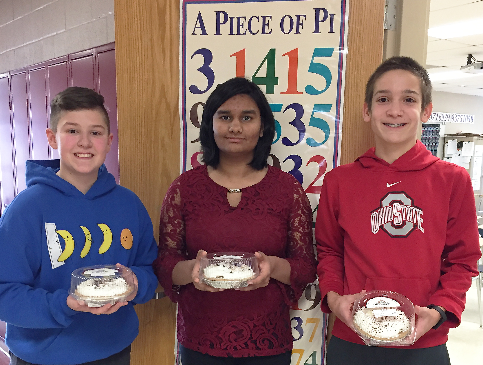 Pictured from left are Ethan Miller, Nandini Pande and Elijah Hadler.